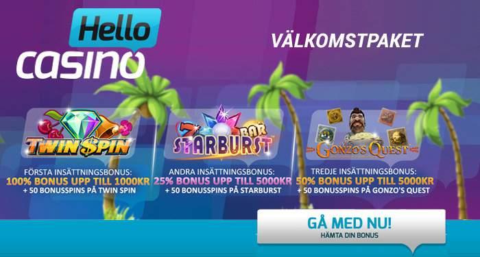 hello casino valkomstpaket €100 bonusar + 150 free spins