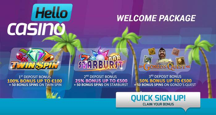 Hello casino bonus up to 100 euro + 150 free spins