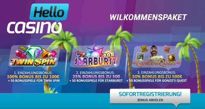hello casino willkommenspaket 1100 euro und 150 Freispiele
