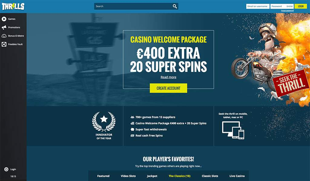 Thrills casino website