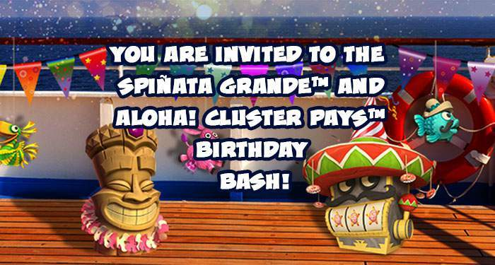 netent birthday bash spinata grande and aloha cluster pays