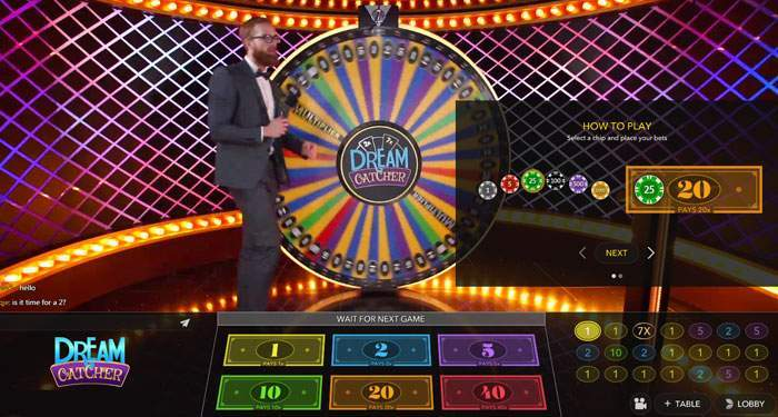 dream catcher live casino game